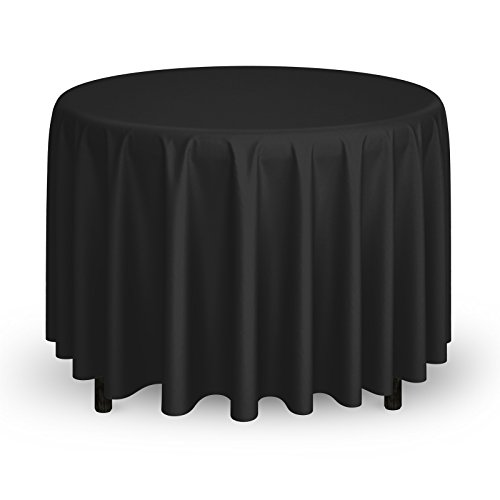"Mill & Thread - 20 Premium 108"" Round Tablecloths for Wedding/Banquet/Restaurant - Polyester Fabric Table Cloths - Black"