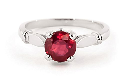 d White Gold Solitaire 2 Carat Natural Ruby Ring - Size 6 ()