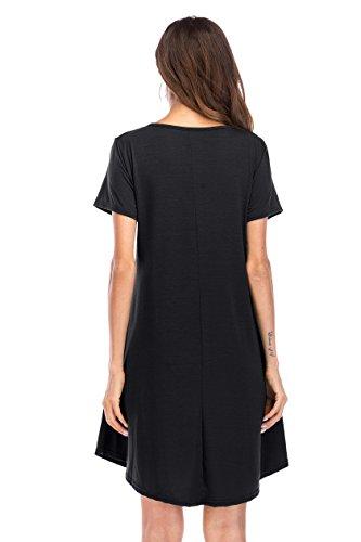 Plain Womens Pockets Midi Irregular Dress Black Loose Sleeve MIDOSOO Short with Swing C1d57wggqx