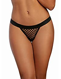 DreamGirl Womens Fishnet G-String with Wide Elastic Waistband G-String Panties