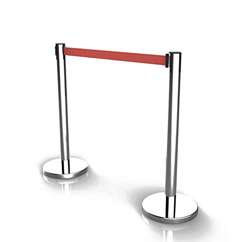 Leadzm 2PCS Stainless Steel Queue Pole Stanchion, 35''H x 12.5D Heavy Duty Crowd Control Stanchion Security Fence Barrier with Red Retractable 6.5ft Belt and Plastic Cement-Filled Base, Silver