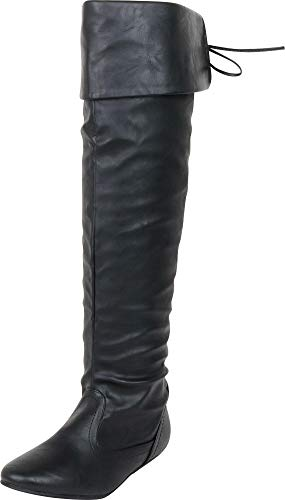 Cambridge Select Women's Thigh High Fold Over Cuff Back Tie Flat Over The Knee Boot,7 B(M) US,Black PU