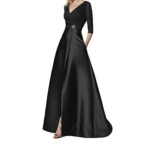 Blau Abendkleider Chiffon Damen Linie Festlichkleider Charmant Lang Schwarz Abschlussballkleider Elegant Ballkleider A 5w14Rx6nq