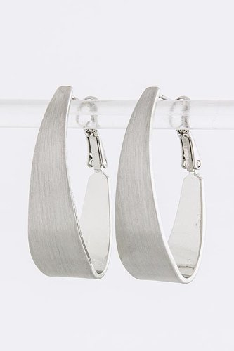 CONTEMPO COUTURE TAPER OVAL HOOP EARRINGS (Silver)