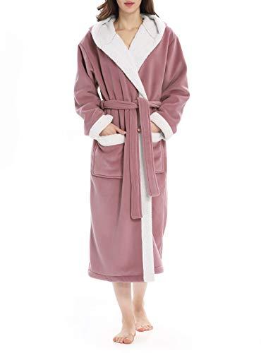 293e906d4d Genuwin Womens Robe Fleece Robe with Hood Soft Bathrobe for Womens S ...