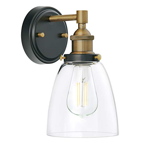 Fiorentino LED Industrial Wall Sconce - Antique Brass w/Clear Glass - Linea di Liara - Sconce Wall Gold Antique