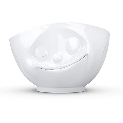 FIFTYEIGHT PRODUCTS TASSEN Porcelain Bowl, Happy Face Edition, 16 oz. White, (Single Bowl) for Serving Cereal, Soup