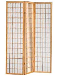 The Furniture Source 3 Panel Natural Color Wood Shoji Screen/Room Divider,  Natural