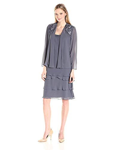 S.L. Fashions Women's Embellished Tiered Jacket Dress (Petite and Regular), Steel, 18
