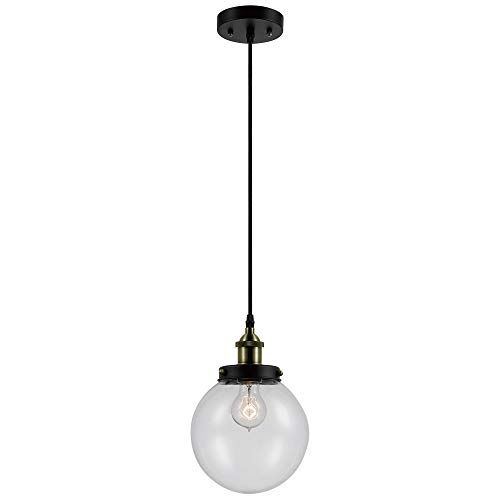 - Novogratz x Globe Daario 1-Light Hanging Pendant, Bronze Finish, Antique Brass Decorative Socket, Clear Glass Shade, 1x Medium Base 60W Bulb (sold separately), 65269