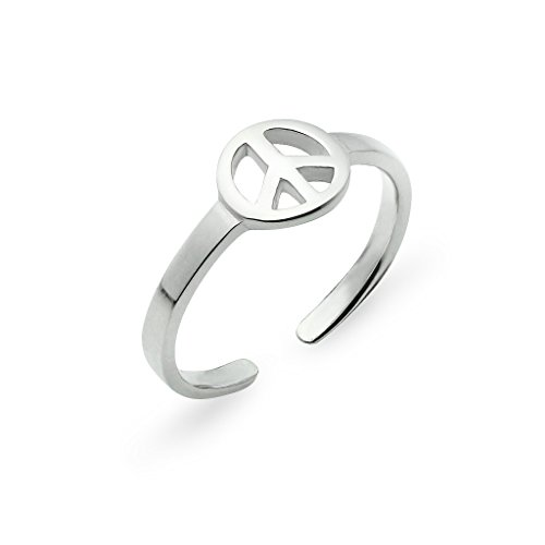 (Sterling Silver Peace Sign Toe Ring Jewelry For Women)