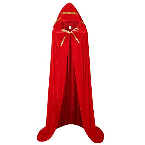 Unisex Full Length Hooded Robe Cloak Long Velvet Cape Cosplay Costume 59 inch(Red(Lace)) -