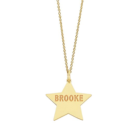 (Soul Jewelry 14k Yellow Gold Personalized Dainty Star Disc Charm Pendant Laser Engraved Any Name)