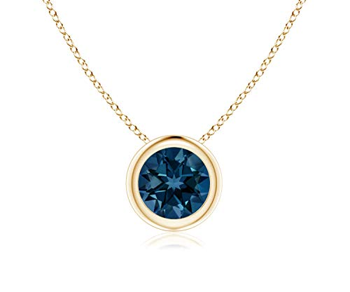 Bezel Set London Blue Topaz Pendant Necklace in 14k Yellow Gold (7mm), 18