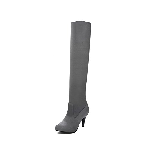 AgooLar Women's Frosted Round Closed Toe Solid High-Top High-Heels Boots Gray PA2Od