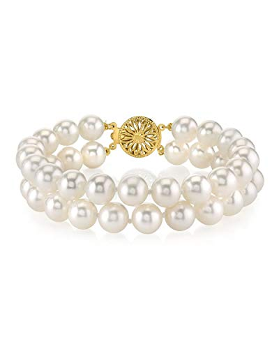 THE PEARL SOURCE 14K Gold 7-8mm AAAA Quality Round White Double Freshwater Cultured Pearl Bracelet for Women ()