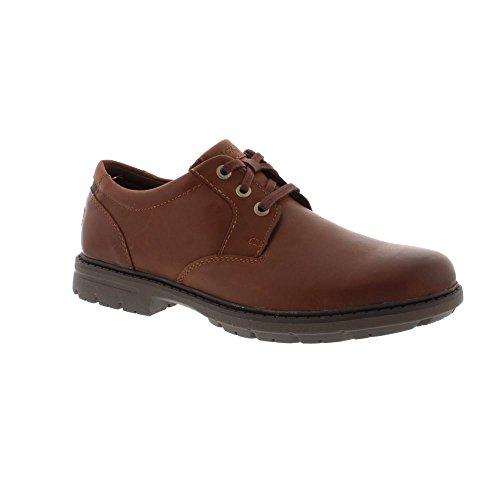 Rockport Mens Tough Bucks Plain Toe Oxford 2 Tan Leather Shoes 10.5 (2 Plain Toe Slip)