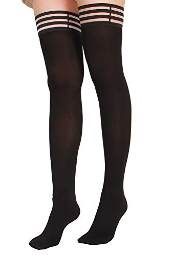 kid Silicone Lace Top Opaque Thigh High Silk Stockings-blackA ()