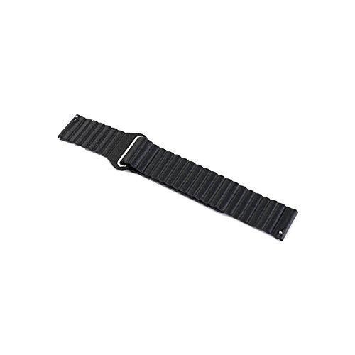 Feicuan 20mm Leather Loopback Magnetic Watch Band Strap Wristband for Samsung Galaxy Gear S2 Classic SM-R732 Smart Watch -Black