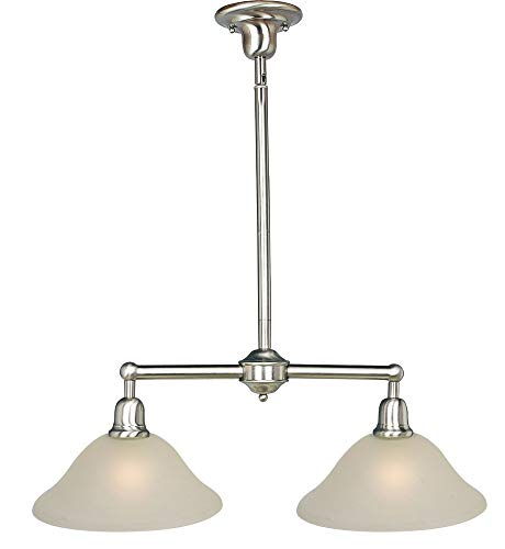 Maxim 11092SVSN Bel Air 2-Light Pendant, Satin Nickel Finish, Soft Vanilla Glass, MB Incandescent Incandescent Bulb , 40W Max., Dry Safety Rating, Standard Dimmable, Linen/Silver Leaf Fa Shade Material, 2400 - Silver Leaf Transitional Chandelier