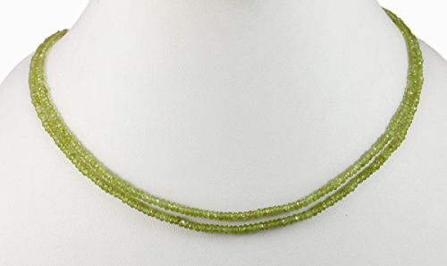 2/3/4/5 Multi Strings Green Peridot 4mm Size Faceted Beads Strings Necklace Gemstone (Green- 2 Strands)