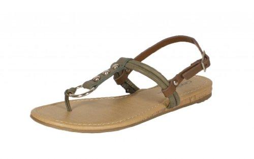 Rayon! Per Città Classificato T-strap O Ring Sughero Avvolto Sul Tallone Sandalo Posteriore In Metallo Con Borchie In Similpelle Marrone Chiaro