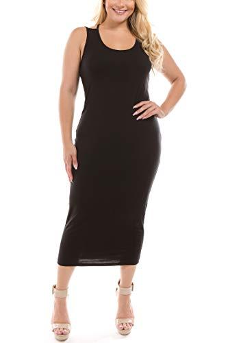 Bulle Taille B Positif Des Femmes Solide Robe Midi Moulante Sans Manches Noir
