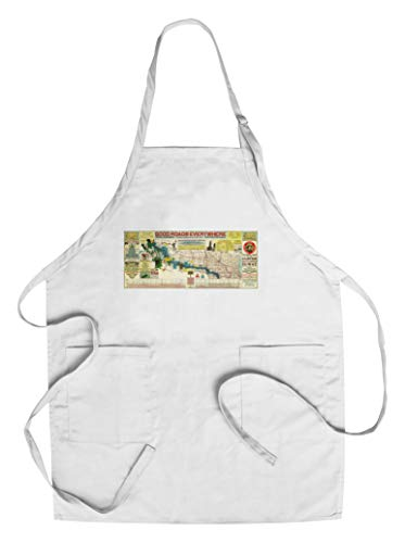 - Touring Map of the Custer Battlefield Highway - Panoramic Map (Cotton/Polyester Chef's Apron)
