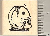 Cute Hamster Eating Candy Corn Rubber Stamp - Wood Mounted