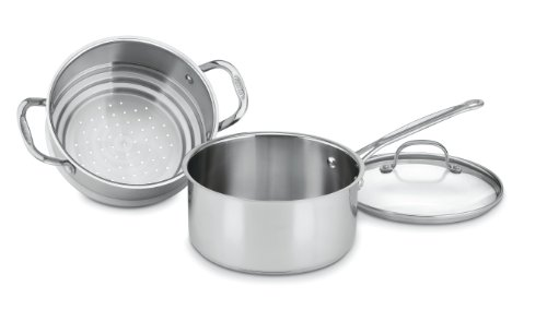 - Cuisinart 77-35CG Chef's Classic Stainless 3-Piece 3-Quart Steamer Set