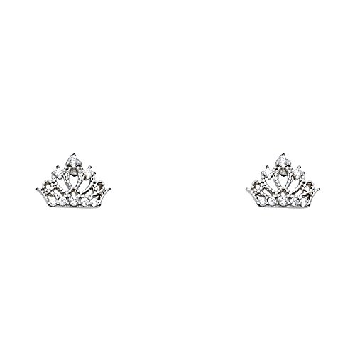 Stud Earrings with Screw Back (14k White Gold Crown)