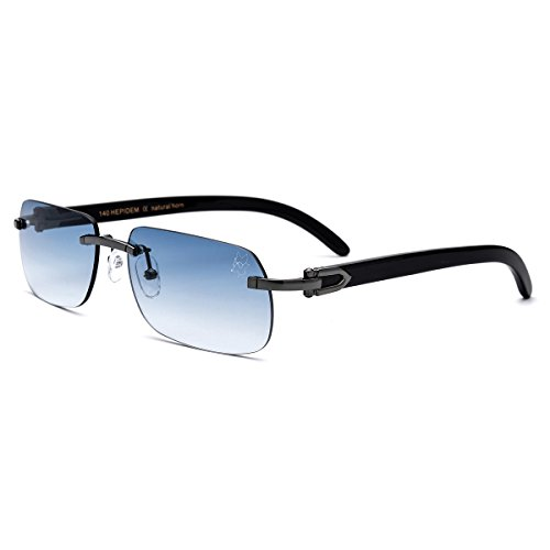HEPIDEM Buffalo Horn Handmade Sun Glasses Square Rimless Luxury Sunglasses 0816 (blue/black, ()