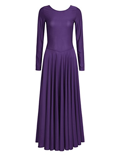 iiniim Womens liturgical Praise Loose Fit Full Length Long Sleeve Dance Dress Purple Small