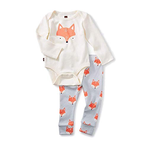 - Tea Collection 2-Piece Bodysuit Baby Outfit, Chalk, Fox Design with White Top and Gray Pants (6-9 Months)