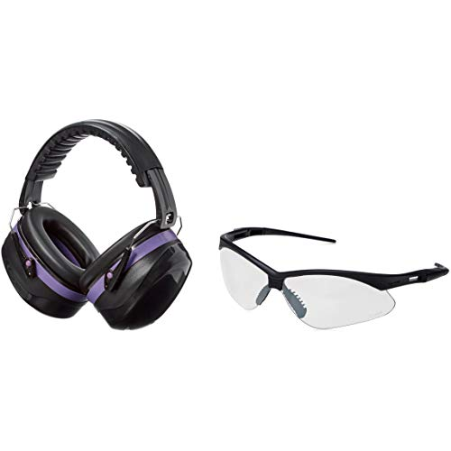 AmazonBasics Safety Ear Muffs Ear Protection, Black and Purple, and Safety Glasses, Clear Lens