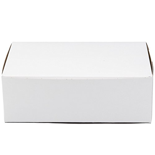 10' Length x 6' Width x 3 1/2' Height Clay Coated Kraft Paperboard White Non-Window Lock Corner Bakery Box by MT Products (Pack of 15)