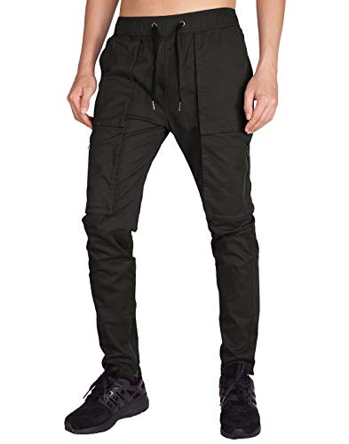 ITALY MORN Men's Chino Cargo Pants Slim Fit Ankle Zipper (XS, Chocolate)