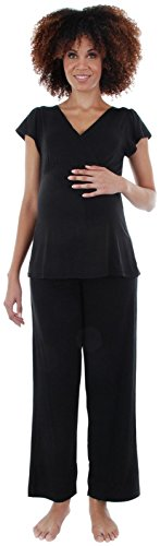 Everly Grey Women's Maternity Serena Maternity & Nursing 2-Piece Flutter Sleeve Top & Pant Set, Black, XL