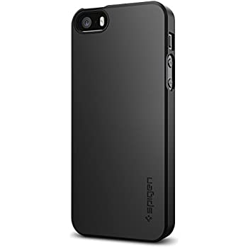 Spigen Thin Fit Case with Matte Finish Coating for iPhone SE - Black