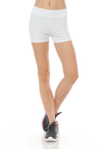 Anza Womens Activewear Dance Booty Shorts Gym Workout Yoga Shorts-White,Small
