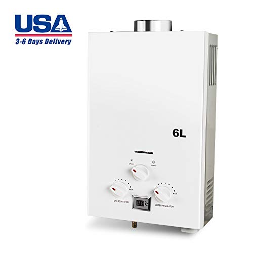 Zinnor 6L Instant Gas Hot Water Heater, Electric Mini Natural Gas Water Heater Tankless, Instant Boiler Bathroom Shower