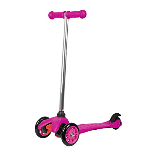 Rugged Racers Pink Kick Scooter for Boys & Girls 3 Wheel Scooter, Kick Scooter for Kids with PU Wheels, Step Brake, Lean 2 Turn, Ride on Toys for Children 3 Year Plus