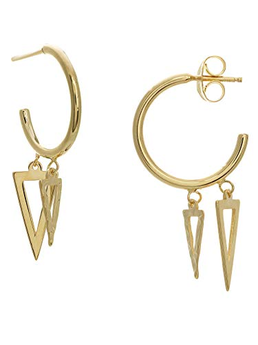 14k Yellow Gold Mini Hoop Earrings with Triangle Drops ()