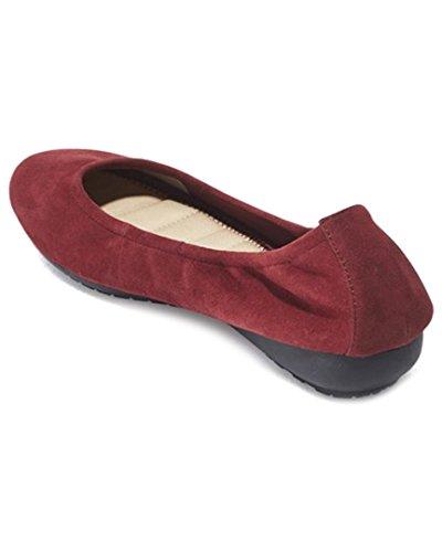 Ik Ook Janell - Dark Cranberry Suede Elasticized Low Wedge Ballet Dark