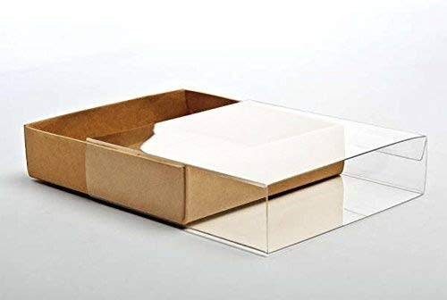 Crystal Clear Boxes - 25 Kraft Paper Stationary Boxes w Clear Sleeves, 4 1/2