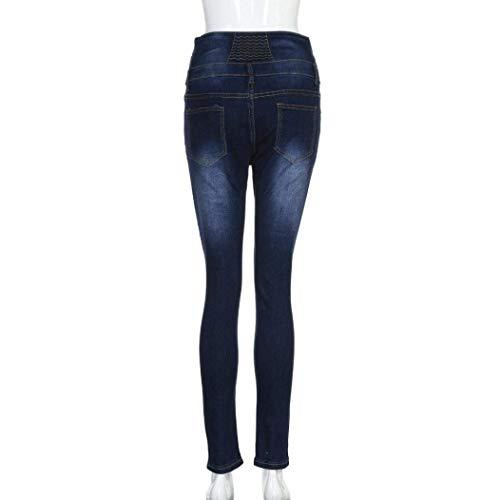 Flaco Hot Vaqueros Pantalones Cintura Slim Mujer Fit Denim Para Pencil Rasgados Estirar Huixin Stretch Sankidv Dunkelblau Alta I4Hwq1O