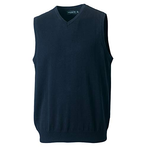 Russell Collection Mens V-Neck Sleevless Knitted Pullover Top / Jumper (4XL) (French Navy)