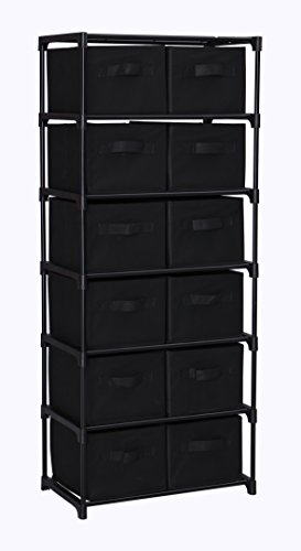 Homebi 12 Drawers Storage Shelf Chest Unit Storage Cabinet Closet Organizer Rack with 6 Durable Metal Wire Shelves and 12 Removable Non-woven Fabric Bins in Black,20.67