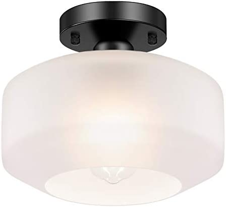 Industrial Ceiling Light Fixture White with Frosted Glass Shade, Black Semi Flush Mount Light Fixture for Hallway Porch Kitchen Entryway Corridor, Farmhouse Close to Ceiling Lights, E26 Base