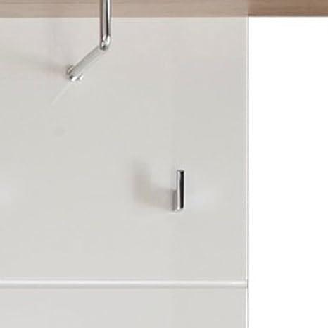 trendteam Perchero Panel perchero Set One, 60 x 195 x 25 cm en blanco brillante, detalles en acabado roble San Remo con seis ganchos de ropa, ...